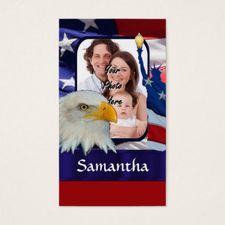 Patriotic American photo template Business Card