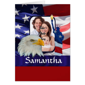 Patriotic American photo template Card
