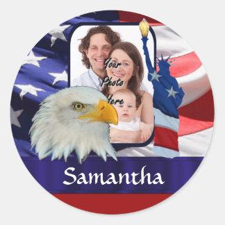 Patriotic American photo template Classic Round Sticker