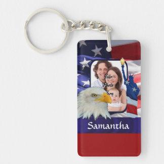 Patriotic American photo template Keychain