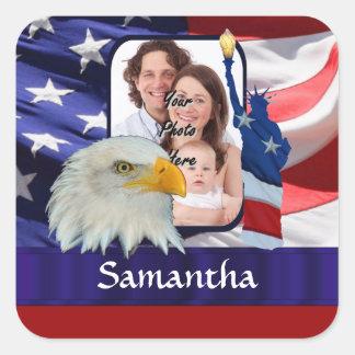 Patriotic American photo template Square Sticker