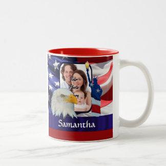 Patriotic American photo template Two-Tone Coffee Mug
