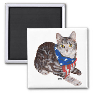 Patriotic American Shorthair Tabby Cat Fridge Magnets