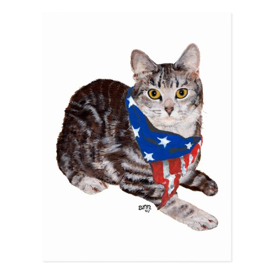 Patriotic American Shorthair Tabby Cat Postcard