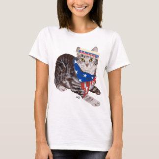 Patriotic American Shorthair Tabby Cat T-Shirt