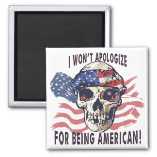 Patriotic American Skull 2 Inch Square Magnet