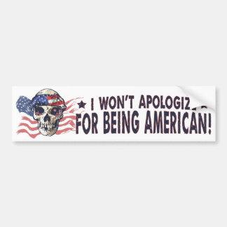 Patriotic American Skull Bumper Sticker