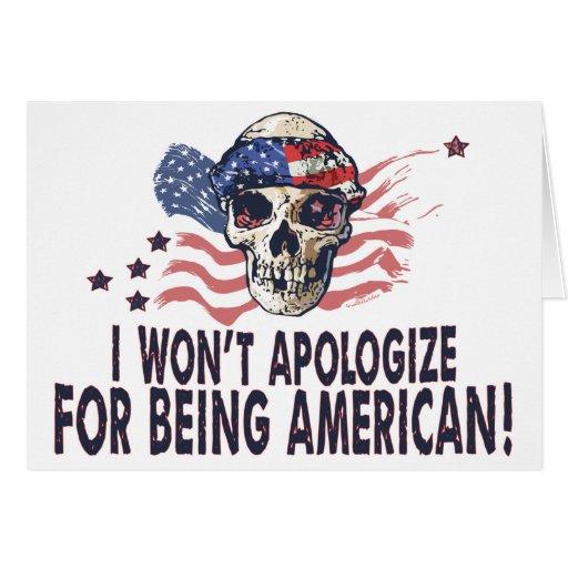 Patriotic American Skull Greeting Card