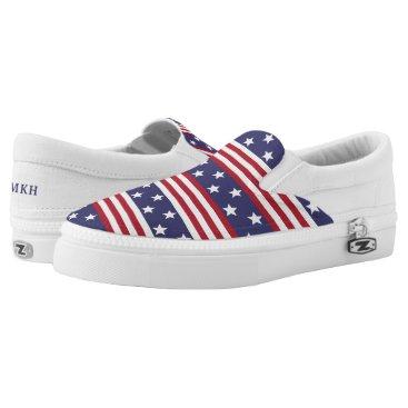 USA Themed Patriotic American Stars Stripes USA Flag Monogram Slip-On Sneakers
