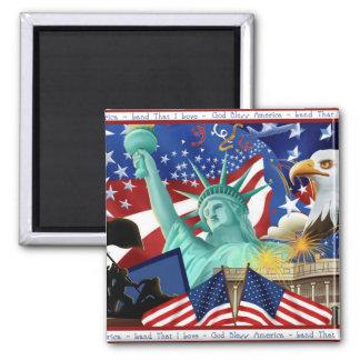 Patriotic American Symbol Magnet Favors 2 Inch Square Magnet