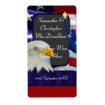 Patriotic American themed wedding wine bottle Personalized Shipping Label