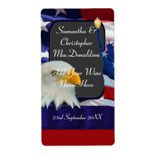 Patriotic American themed wedding wine bottle Label