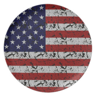 Patriotic American U.S.A. Flag of United States Dinner Plate