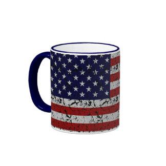 Patriotic American U.S.A. Flag of United States Ringer Coffee Mug