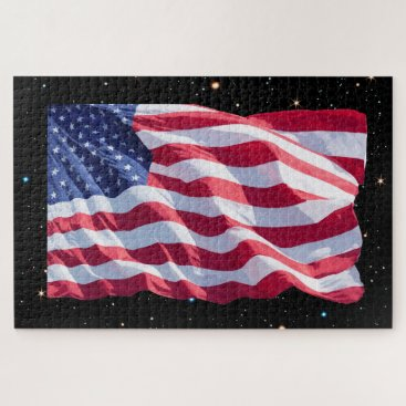 Patriotic American United States Flag Night Stars Jigsaw Puzzle