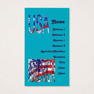 Patriotic American USA Create Your Own Business Card