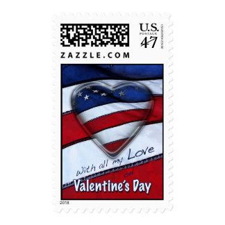 Patriotic American Valentine's Day postage