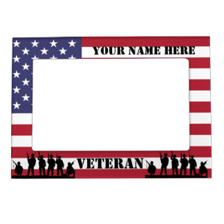 Patriotic American Veteran soldiers & flag Magnetic Picture Frame
