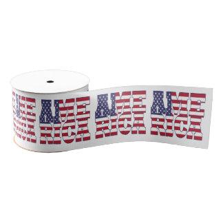 Patriotic Anerican flag typography design Grosgrain Ribbon
