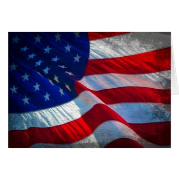 Patriotic Antiqued American Flag Note Card