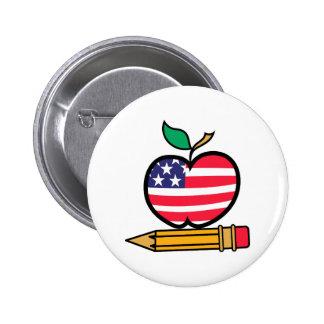 Patriotic Apple & Pencil 2 Inch Round Button