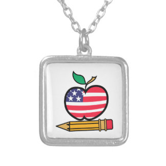 Patriotic Apple & Pencil Square Pendant Necklace