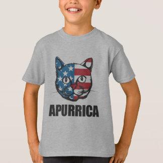 Patriotic Apurrica American Flag Cat T-Shirt
