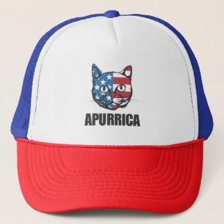 Patriotic Apurrica American Flag Cat Trucker Hat