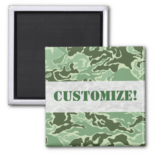 Patriotic Army Custom Green Camouflage Designs Fridge Magnets