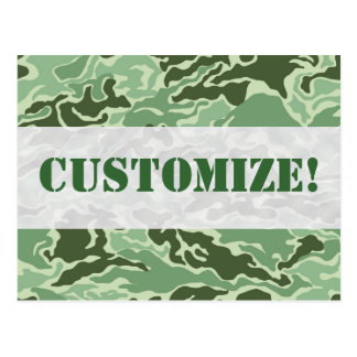 Patriotic Army Custom Green Camouflage Designs Postcard