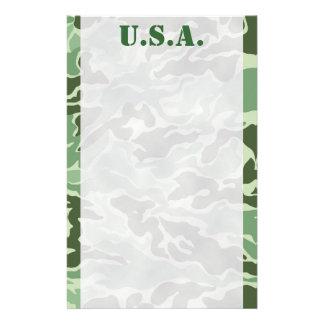 Patriotic Army Custom Green Camouflage Stationery