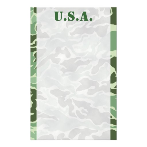 Patriotic Army Custom Green Camouflage Stationery
