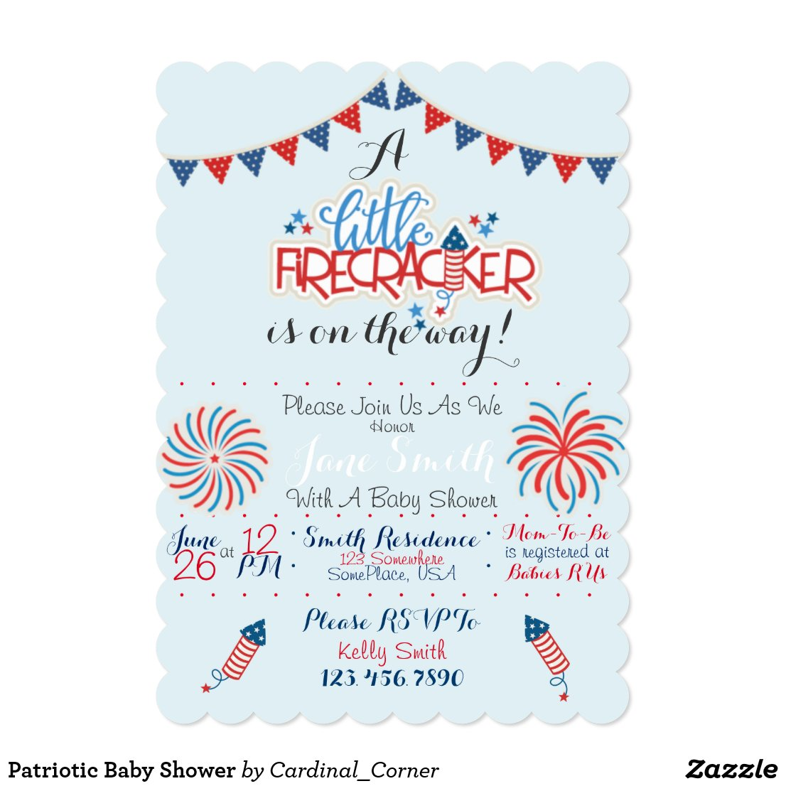 Patriotic Baby Shower Card
