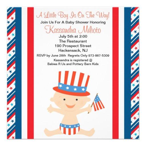 Patriotic Baby Waving Flag Baby Shower Invitation