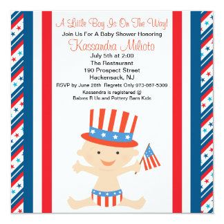 "Patriotic Baby Waving Flag Baby Shower Invitation 5.25"" Square Invitation Card"