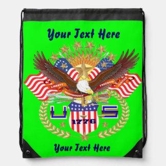 Patriotic Backpack Beach Bag Runner Cinch Bag