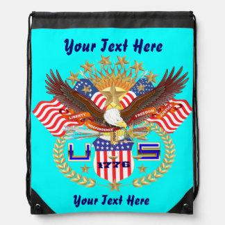 Patriotic Backpack Beach Bag Runner Drawstring Bag