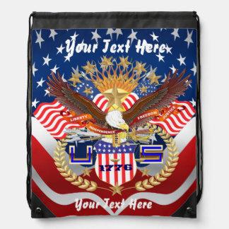 Patriotic Backpack Beach Bag Runner Cinch Bags