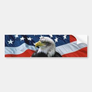 Patriotic Bald Eagle American Flag Bumper Sticker