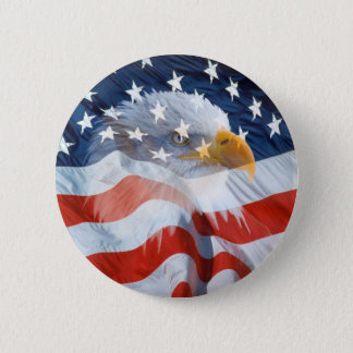 Patriotic Bald Eagle American Flag Button