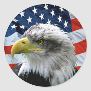 Patriotic Bald Eagle American Flag Classic Round Sticker