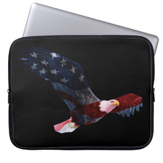 Patriotic Bald Eagle American Flag Computer Sleeve