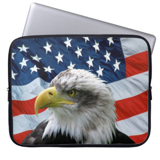 Patriotic Bald Eagle American Flag Laptop Sleeve