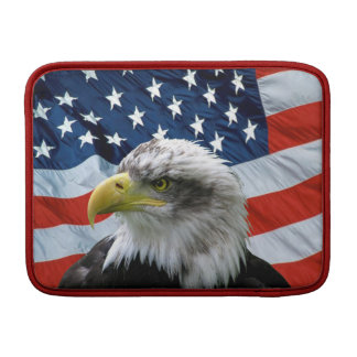 Patriotic Bald Eagle American Flag Macbook Sleeve