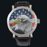 """Patriotic Bald Eagle American Flag Numberles Watch<br><div class=""""desc"""">Patriotic Watch with photo of Bald Eagle in front of the American Flag</div>"""