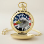 """Patriotic Bald Eagle American Flag Pocket Watch<br><div class=""""desc"""">This Patriotic Pocket Watch is decorated with a beautiful photo of a Bald Eagle in front of the American Flag</div>"""