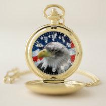 Patriotic Bald Eagle American Flag Pocket Watch