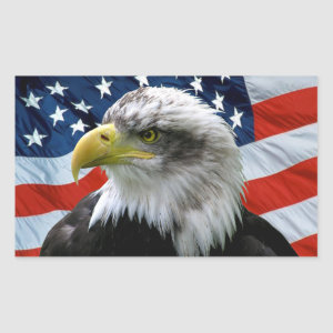 Patriotic Bald Eagle American Flag Rectangular Sticker