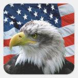 Patriotic Bald Eagle American Flag Square Sticker at Zazzle