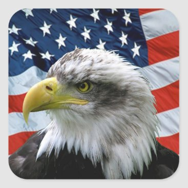 USA Themed Patriotic Bald Eagle American Flag Square Sticker